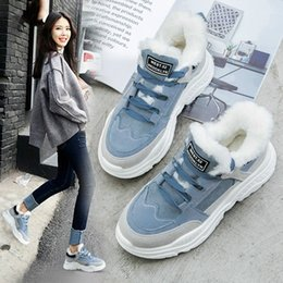 suede platform sneakers Australia - 2020 Fashion Casual Sneakers Women Winter Warm Lace-up Platform Snow Boots Girls Plush Faux Suede Leather Snowboots Shoes Fur