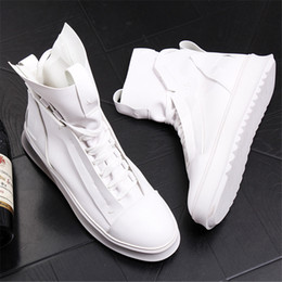 Black ruBBer hip Boots online shopping - Breathable Summer Boots Men High Top Casual Trending Leisure Shoes Hip Hop Zapatos White D50