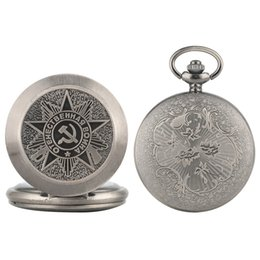 $enCountryForm.capitalKeyWord Australia - USSR Soviet Badges Sickle Hammer Pocket Watch Necklace Silver Gray Pendant Chain Clock CCCP FOB Watch as Christmas Gifts for Men