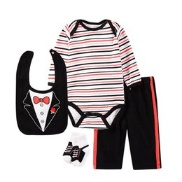 Discount long socks outfit - INS new baby boys suits newborn outfits long sleeve cotton baby rompers +pants+bib+socks 4pcs infant sets newborn baby b