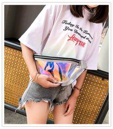 Wholesale Fashion Waist Bag Unisex Laser PVC Transparent Imported Laer Film Waterproof Rainbow Hologram Fanny Pack Women Crossbody Bag Epacket