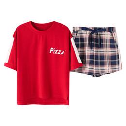 e4cb91ffe3 Korean Loose Plaid 2019 Summer Cute Pajamas Women Cotton Pajama Set Short  Sleeve Elastic Waist Sleepwear Lounge pyjamas S93220