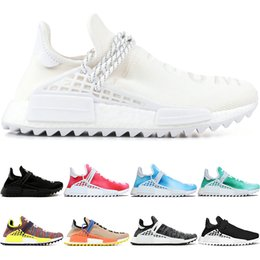 trail running shoes hiking NZ - Human Race trail Running Shoes Men Women Pharrell Williams HU Runner Nerd Black White Peace Passion Younth Limited Sport Sneaker Size 36-47