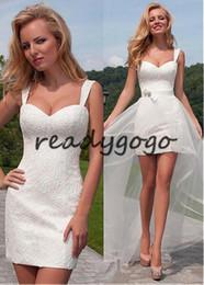 $enCountryForm.capitalKeyWord UK - Little White Dress Full Lace Beach Short Mermaid Wedding Dresses with Detachable Train 2019 Lace-up corset Bridal Reception Gown
