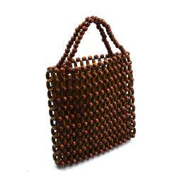 $enCountryForm.capitalKeyWord UK - 2019 New Fashion Women Wooden Beads Handbag Beaded Woven Handmade Fashion Tote Bags Luxury High Quality Bamboo Hand Bag sac