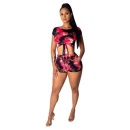 Chinese  women set summer tie dye galaxy print o-neck short sleeve tie up tee top & shorts suit two piece set fashion tracksuit manufacturers
