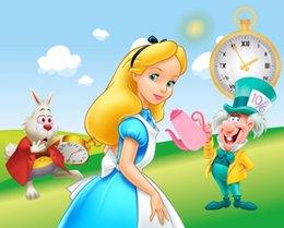 7x5ft Алиса Страна Чудес зеленая трава сад Кролик часы Фея пользовательские фото фон студия фон винил 220см x 150см