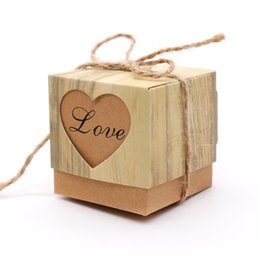 Wholesale Heart Candy Boxes Australia - boxes for wedding favors 10pcs lot Romantic Vintage Heart Kraft paper Candy Box With Burlap Twine Wedding Favors and Gifts Bag Party
