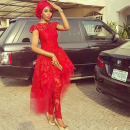 T back models online shopping - Lace Aso Ebi Evening Jumpsuit with Train Red Lace Applique Peplum High Neck African Nigerian Cocktail Prom Party Dress Wear