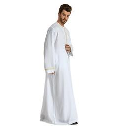 1f952dd1af5 2019 Men Muslim Thobes Men Muslim Robes Islamic Clothing Embroidery Dubai  Arabic Abaya Kaftan Eid Mubarak Prayer Maxi Jubba