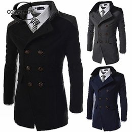 $enCountryForm.capitalKeyWord Australia - Men Fashion Casual Solid Double Breasted Long Winter Spring Autumn Sleeve Wool Blend Coat Button