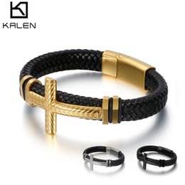 $enCountryForm.capitalKeyWord Australia - Leather Braided Rope Bracelet For Men Metal Cruz Charm Fashion Trend Bracelet Silver Black Gold Color