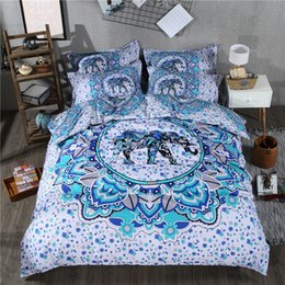 elephant bedding Australia - Blue Elephant Duvet Cover Set Home Decorative 3 Piece Bedding Set With 2 Pillow Shams Breathable Soft And Durable