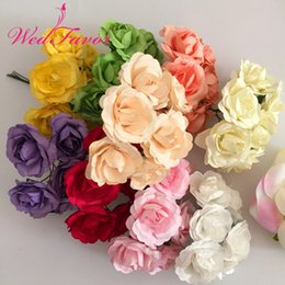 scrapbooking roses NZ - 144pcs 3.5cm Artificial Handmade Mulberry Paper Rose Bouquet Scrapbooking Accessories Garland Candy Box Wedding Decoration