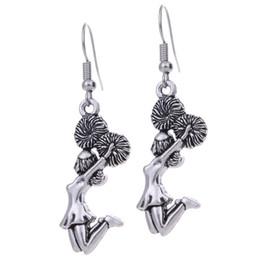 $enCountryForm.capitalKeyWord Australia - Antique Silver Cheerleader Girl Charms Dancing Girl Earrings Sports Creative Women's Alloy Earrings