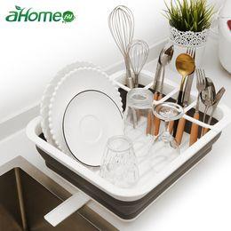 Silicone For Kitchen NZ - Silicone Folding Storage Rack Kitchen Tableware Dinnerware Organizer Drainer for Dishes Bowls Cups Kitchen