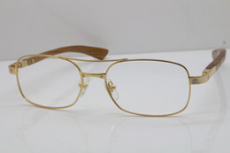 Discount geometric eyeglasses men Wholesale Gold wood glasses frames Round Metal 5046683 Eyeglasses C Decoration male and female Mixed Eyewear