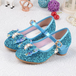 Discount designer shoes for children - Designer Children Princess Sandals Kids Girls Wedding Shoes High Heels Dress Shoes Bowtie Gold Shoes For Girls 4 Colors