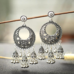 953e9963d 2019 Silver Round Egypt Vintage Jhumka Bells Tassel Earrings For Women  Flower Classic Turkish Tribal Gypsy Indian Jewelry HXE103
