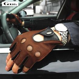 $enCountryForm.capitalKeyWord Australia - Gours Spring Men's Genuine Leather Gloves Driving Unlined 100% Deerskin Half Fingerless Gloves Fingerless Fitness Gloves Gsm046l MX190817