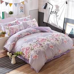 $enCountryForm.capitalKeyWord Australia - Home Textile Purple Rose Flower Bedding Set Cotton Bed Linen Bedclothes for Home Bedding Gift Twin Full Queen King Free Shipping