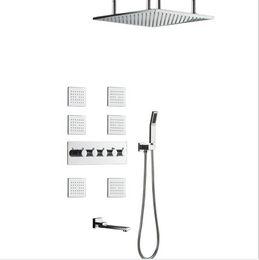 $enCountryForm.capitalKeyWord Australia - 304SUS and brass Made Bathroom Shower Faucets 50*50cm Rain Showerhead Shower Set High Flow Diverter Mixer Rainfall Body Jets Shower System