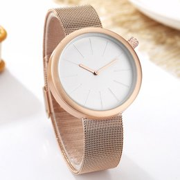 Wholesale Couple Watch Men Women Minimalist Turntable Numbers Dial Wristwatch Fashion Stainless Steel Rose Gold Female Clock for Lovers