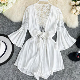 Discount see through lace jumpsuits - Elegant Women White Black Lace Playsuit Elastic Waist Female See Through Sexy Jumpsuit Romper Flare Sleeve Short Overall