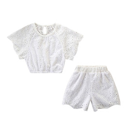 c2ba9cc9b6167 Toddler Kids Baby Girl Outfits Clothes Lace Hollow T-shirt Tops+Shorts  Pants Set Baby Girls Boys Clothe Set Summer Swimming