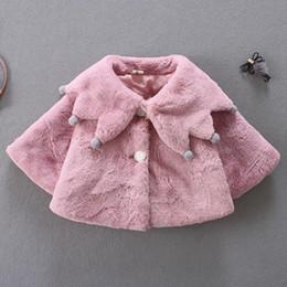 White Faux Fur Shorts Australia - Lovely Faux Fur Coats for Baby Girls Autumn Winter Black Dot Clothing Child Wool Outwear Little Girl Beadings Shawl Kids Costume