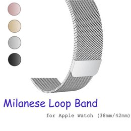 Wholesale Milanese loop band for apple watch mm mm mm mm Stainless Steel strap Bracelet metal watchband for iwatch series Epacket Free