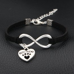 Best Christmas Gifts For Men Australia - Handmade Black Color Leather Suede Wrap Cuff Bracelet Bangles Infinity Pets Dog Paw Best Friend Couples Jewelry For Women Men Creative Gifts