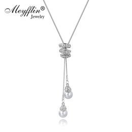 $enCountryForm.capitalKeyWord UK - Meyfflin Collier Femme Long Necklaces for Women Fashion Simulated Pearl Crystal Necklace Pendant Jewelry Silver Chain Bijoux