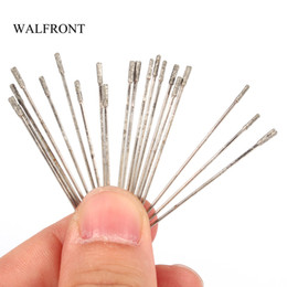 diamond tool set Canada - Freeshipping 20pcs Lot*10 Diamond Coated Lapidary Drill Bit Needle For Jewelry Agate Grinding Drilling Hole Cutter Carving Tools Set