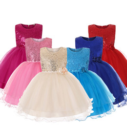 embroidered tutu UK - Girls Dresses Princess Birthday Party Girls Clothes Pearl Flower Sleeveless Wedding Dress Ball Gown For Baby Girls 0-14T