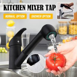 pull out spray kitchen UK - Xueqin Black Pull Out Spray Kitchen Basin Sink Water Faucet 360 Degree Rotation Mixer Tap Spout Bathroom Hot Cold Water Faucet T200423