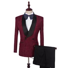 07c0a1c2e95e64 Trajes de hombre rojo vino imprimieron el patrón de Borgoña trajes de boda  Novio Novio Por encargo Esmoquin Blazer Slim Fit Casual Mejor hombre Prom 2  ...