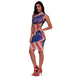 American Flag Dress Xl Australia - American flag printing Sexy Dress women Summer Sleeveless Dress women Mini Sheath vestidos mujer 2019 casuales 40ja14