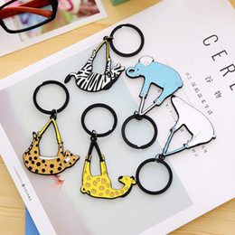 Blue Anchor Ring Australia - Cute Cartoon Animal Beer Keychain Car Key Ring Women Man Bag Pendant Yellow Blue Charms Key Holder