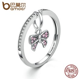 $enCountryForm.capitalKeyWord Australia - dhgate Lovely Real 925 Sterling Silver Pink Bow Knot Finger Rings for Women and Girl Fashion DIY Jewelry SCR013