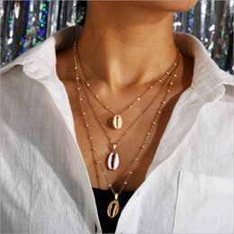 Conch Pearl Charm Australia - 2019 new listing shell necklace creative geometric shell pendant necklace conch inlaid with gold edge clavicle chain