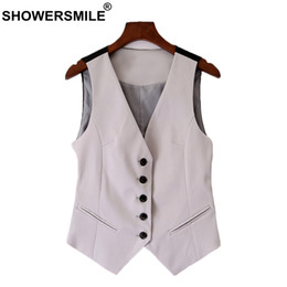 Grey Cotton Jacket Australia - SHOWERSMILE Grey Waistcoat Women Short Elegant Ladies Vest Cotton Slim Fit OL Fashion Female Cheap Spring Sleeveless Jackets 4xl