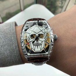 Water Resistant Wrist Watch Australia - Top quality! Men AAA Brand Luxury Watches Skull dial Genuine Leather Mechanical Automatic Wrist Watch For mens Water Resistant wristwatches
