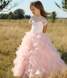 flower child prom dresses 2019 - Pink Short Sleeves Flower Girls Dresses Children Sheer Neck Tiered Long Cute Pageant Dress Lace Birthday Kids Prom Party