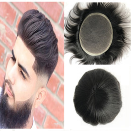 $enCountryForm.capitalKeyWord NZ - Swiss Lace Men Toupee Full Lace With Pu Toupee For Men Replacement System 100% Human Hair Natural Black Straight Toupee Hairpiece