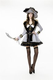Wholesale pirate costumes women for sale – halloween Dress Clothes Cosplay Women Pirate Costume Theme Designer Queen Stage Halloween