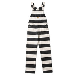 Chinese  BOB DONG Moto Prisoners Stripes 40s High Back Vintage Mens Bib Overalls Biker manufacturers