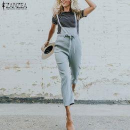 f5e364e3fd7f 2019 Summer ZANZEA Women Casual Pencil Pants Solid Cotton Linen Long Rompers  Strappy Party Loose Turnip Jumpsuit Overalls S 5XL