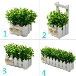 Modern Pots For Plants Australia - Fake Flower Plant Peppermint Grass+White Fence Artificial Flowers For Wedding Party Decoration Simulation Flower Pot Set Decor