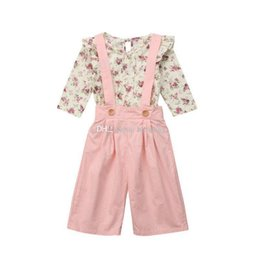$enCountryForm.capitalKeyWord NZ - kids designer clothes girls Floral outfits children Flower tops+strap pants 2pcs set 2019 Spring Autumn baby Overalls Clothing Sets C6720
